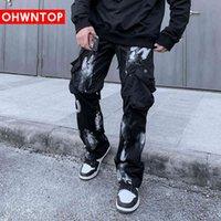 Ohwntop Harem Грузовые брюки Хип-хоп Талия Дизайн Карманы Уличная Одежда Мужская мода Harajuku Свободные мешковатые Joggers Брюки мужской