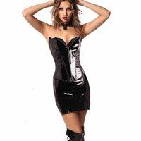 back Skirt Sexy Dark PVC punk body shaping suit patent leather underwear nightclub performance drs buttocks