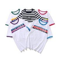 Kurzarm raten weiße blaue streifen regenbogen lässig t-shirt kurze hülse lose stickerei buchstaben