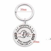 Newstainless keychain de aço pingente de metal redonda família chaveiro chaveiro avô keyring criativo suprimentos ewb7149
