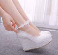 Dress Shoes Large Size Women 2021 Wedges Single Waterproof Platform High Heels Simple Elegant Within Increased Wedding