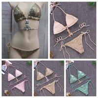Kadınlar Seksi 2 ADET Bikini İç Bayanlar Mayo Yaz Beachwear Bir Set Sutyen Külot Payetli Taş Yüzme Giysileri 3 Renkler
