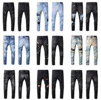 AMN 2021 Мода Мужская Одежда Проблемная дыра Джинсы Знаменитая мода Прохладный дизайнер Черный тонкий мотоцикл, езда в повседневных джинсах