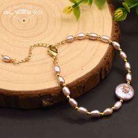 Glsevo ручной работы натуральный розовый барокко жемчужный браслет для женщин любовь подруга подарки мода ювелирные изделия оригинальный дизайнер GB0125