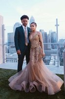 Champagne Mermaid Evening Dresses Spaghetti Strap Gold Appliqued Beads Sweep Train Bridal Gown Formal Party Wear Prom Dress Vestidos De Novia