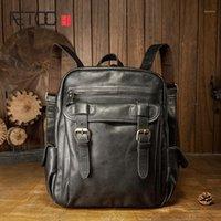 AETOO Cowhide backpack, men's leather leisure travel bag, simple trendy men's computer bag1