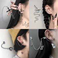Fashion Punk Butterfly Clip Earring for Teens Women Men Ear Cuffs Zinc Alloy Cool Jewelry Vintage Retro Chain Earings Metal