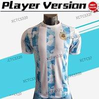 Jogador Versão Argentina Futebol Jersey Messi Dybala Maradona 2021 2022 Copa América Casa Homens Camisa de Futebol Personalizado S-2XL