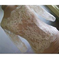 Chaqueta nupcial de encaje de marfil de alta calidad con manga larga bolero Accesorios de novia de envoltura personalizada para vestido de novia Chaquetas baratas