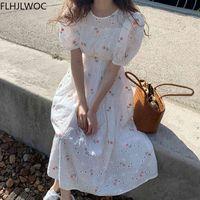 Coréia chique pradaria bonito doce data meninas feminino mulheres floral impresso retro vintage slow manga branca vestido