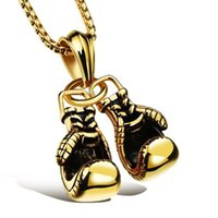 Chains Stainless Steel Vintage Fitness Boxing Glove Gold Pendant Necklace Men's Punk Rock Heavy Bodybuilding Gift For Him With Chain
