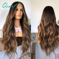 Brown with Honey Blonde Highlights 360 Lace Frontal Wig 180% 250% High Density Ombre Peruvian Wavy Remy Hu Hair Wigs Qearl