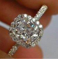 الفاخرة 3ct حجم 5-10 مجوهرات 10 كيلو الذهب الأبيض شغل الأبيض توباز النساء خاتم الزفاف هدية