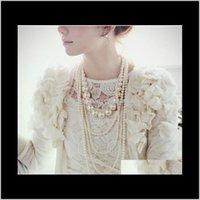 Perlen Multilayer Natürliche Süßwasser Perle Schmuck 3 Reihen Pullover Kette Lange Halsketten Frau Mutter Tag Geschenk TN40V BGDKO