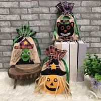 Gift Wrap Halloween Bags Pouch Holders Bar Shopping Mall Decoration Witch Pumpkin Pattern Drawstring Tote Candy Bag Event Supplies