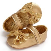 First Walkers Born Baby Girl Sneakers Toddler Butterfly Knot Sequins Infant Princess Girls Leather Shoes Soft Bottom Walker Golden