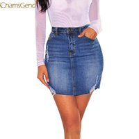Denim Etek Kadın Katı Mavi Yüksek Bel Mini Kot Pockets Etekler Bayan Artı Boyutu Kalem Jun