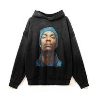 Straße Westküste Rapper Goye High Printed Hip Hop Vintage WASHED KUROSHIO Hoodie Herrenpullover
