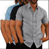 Camicie da uomo in lino da uomo Estate Camicie solide e maniche corte per uomo con bottoni da uomo in su shirt manica giapponese streetwear casual