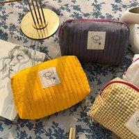 Cosmetische tassen gevallen gewatteerde tas polyester katoen opslag patchwork clutch grote capaciteit rits