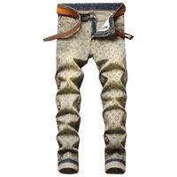 الخريف الرجعية الصفراء الرجال سليم طباعة الجينز pantalons صب أزياء الصغرى مرونة العصرية الدينيم السراويل vaqueros دي لوس hombres