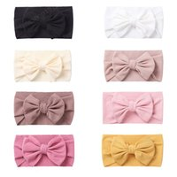 Toddler Soft Skin-friendly Cotton Elastic Headband Solid Color Striped Bows Hairband Bowknot Headwear Photography Props