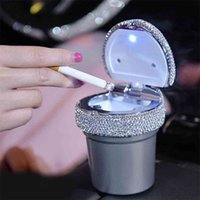 Portable Car Ashtray with Led Light Crystal Diamond Ash Tray Storage Cup Holder for Girls Accessories 210628