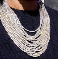 2021 Venta superior Hip Hop Sparkling Jewelry Iced Out Out Chains One Fow Tennis High Quapeity White Gold Relling Mujeres Hombres Collar de cristal Regalo