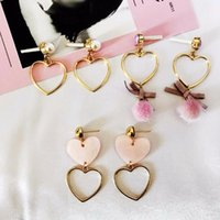 Dangle & Chandelier 3 Different Style Hollow Out Heart Drop Earrings Acrylic Heart& Ball Charming For Girls Romantic Jewelry