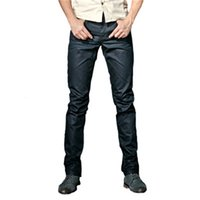 Mens Coated Jeans Fashion Cool Waxed Slim Fit Biker Denim Pants New Arrival Male Casual Solid Streetwear