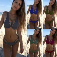 Mujeres Push Up Binkins Beach Dos piezas Swim Skad Traje Mujer Sexy V Cuello Surf Surf Swimwear Ropa de verano
