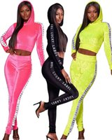 women designers clothes 2020 fall winter womens sweatsuits webbing Korean velvet leisure long sleeved two piece set tracksuit new style