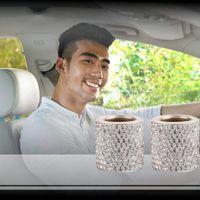 Interior Decorations 2x Crystal Diamond Car Headrest Head Rest Collars Rings Decor Fashion Bling