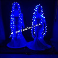 Party Decoration BC42 Ballroom Dance Costumes Led Stage Catwalk Singer Wears Women Dresses Dj Hair Cosplay Clothes Show Bar Luminous Skirt