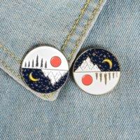 Yinyang Day Night Sun Moon Brooch Pins 여성을위한 에나멜 옷깃 핀 남자 탑 드레스 카지지 패션 쥬얼리 윌과 샌디