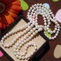Real Pearls, Long Sweater Jewelry Winter Spring Summer Autumn Pearl Necklace Knotted Costume Jewellery Cheap on Sale!!!