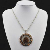 59.94 --- Flor Tiger Stone Necklace Colgante Mujeres, Look Vintage, Plata Antigua, Aleación del Tíbet, Cadenas Mayoristas