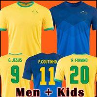 2021 Jersey di calcio Camiseta de Futbol Paqueta Neres Coutinho Brazils Camicia calcio Firmino Jesus Marcelo Pele Brasil 20 21 piedi uomo + Kid Kit