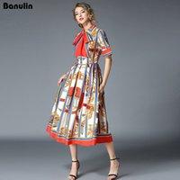 Banulin 고품질 2019 여름 최신 활주로 디자이너 드레스 여성의 반소매 셔츠 칼라 플로랄 프린트 활 MIDI 드레스 MX200518