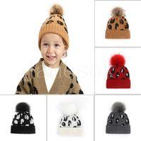 Cute Pompom Baby Hat Leopard Print Kids Girl Boy Beanie Cap Autumn Winter Knitted Warm Children Toddler Accessories DD329
