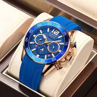 Relógios Mens Lige Top Marca Relógio Impermeável Masculino Silicone Strap Sport Quartz Watch para homens Big Dial Chronograph Pulso de pulso 210527