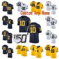 NCAA Kolej Formaları Michigan Wolverines 10 Tom Brady 2 Shea Patterson 2 Charles Woodson 4 Nico Collins Özel Futbol Dikişli