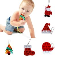Christmas ornament Xmas tree hat stocking santa sensory fidget bubble popping toys key ring keychains kids baby teether finger board game anti anxietyG109BY96