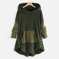 Women's Hoodies & Sweatshirts Plush Hoodie For Women 5xl Plus Size Hoody Patchwork Colors Long Sleeve Button Pocket Winter Tops