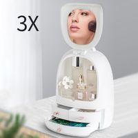 المرايا المدمجة USB ماكياج فرشاة درج منظم التجميل تخزين مربع منتجات العناية بالبشرة حاوية 3x مكبرة LED ضوء قابل للتعديل ميرو