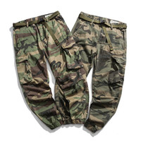 Men's Pants Ankle Length Men Fashion Loose Multi Pocket Cargo 3D Knee Clipping Tactical CP Camouflage Trousers With Belt