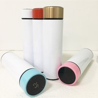 الذكية الصمام عرض درجة الحرارة زجاجة المياه 500 ملليلتر التسامي مستقيم بهلوان مزدوج الجدار الفولاذ الصلب سليم كأس نقل الحرارة طلاء القهوة حليب القدح