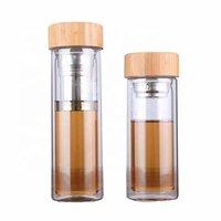 Zooobe 350/450ml Botellas de agua de vidrio de doble pared con filtro de acero inoxidable y tapa de bambú infusor de té Botella de bebida de vidrio