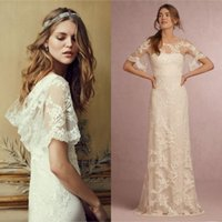 Vintage Country Wedding Dresses Sheath Beach Lace Appliques Floor Length Bridal Gowns Illusion Bateau Neck Short Sleeves Draped B