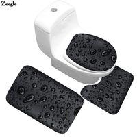 Flannel Bathroom Bath Mat Home Decor Toilet Carpet Memory Foam Floor Rug And Absorbent Seat Cover Set Mats